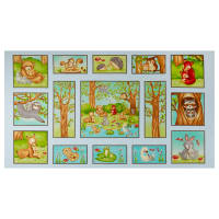 "Hugs & Loves 24"" Critter Panel Sky Blue"