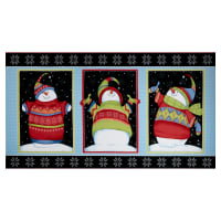 "Sweater Weather Snowman Block Flannel 24"" Panel Multi"