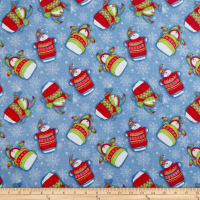 Sweater Weather Tossed Snowmen Flannel Blue
