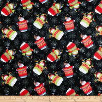 Sweater Weather Tossed Snowmen Flannel Black