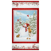 "Sheltering Snowman Snowman 24"" Panel Blue/Red"