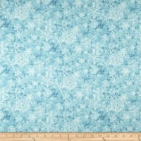 Sheltering Snowman Lacey Snowflakes Light Blue