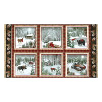"Rustic Charm Flannel 24"" Panel Rustic Winter Block Scenes Multi"