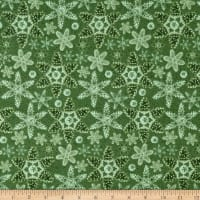 Rustic Charm Flannel Pinecone Snowflakes Green