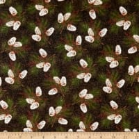Rustic Charm Flannel Pinecones Brown