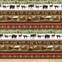 Rustic Charm Flannel Cabin & Forest Animal Stripe Multi