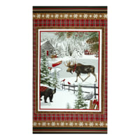 "Rustic Charm Flannel Winter Scene 24"" Panel Multi"