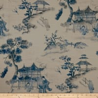 14 Karat Home Asian Toile Navy Barkcloth