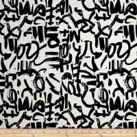 Telio Bloom Cotton Spandex Sateen  Graffiti Ecru/Black