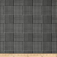 Telio Bengaline Stretch Jacquard Glen Check Black/White