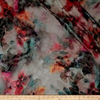 Telio Nuance Digital Print Burnout Silk Satin Floral Wine