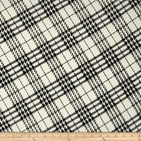 Telio Domino Pique Knit Flocking Print Diamond PLaid Ecru Black