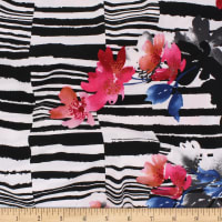 Telio Brazil Stretch ITY Knit  Double Border Floral Black White Red