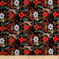 Telio Crezia Knit Giraffe Floral Black Red
