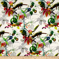 Telio Mirage Jacquard Digital Print Iguana White Green