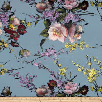 Telio Digital Silk Charmeuse Print Floral Soft Blue