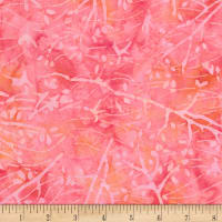 Timeless Treasures Tonga Batik Mini Garnet Branches Flamingo