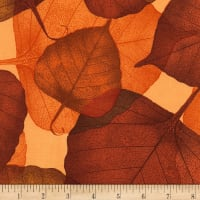 "Timeless Treasures 108"" Wide Back Leaves Russet"