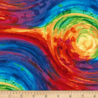 "Timeless Treasures 108"" Wide Back Painted Swirl Multi"