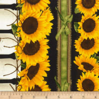 Timeless Treasures Sunflower Farm Sunflower Border Stripe Black