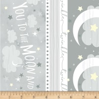 Timeless Treasures Moon & Stars Moon & Back Stripe Grey
