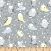 Timeless Treasures Moon & Stars Flannel Whimsical Owls Stone
