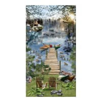 "Timeless Treasures Gone Fishing 24"" Panel Lake"