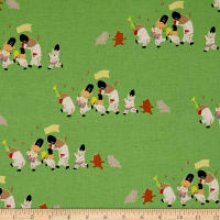 Kokka Bitte Mitte Bear Parade Canvas Green