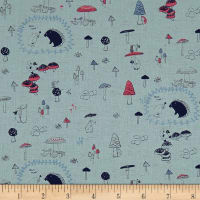 Kokka Bitte Mitte Forest Adventures Canvas Light Blue