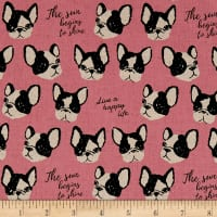 Kokka Black & White Bulldog Canvas Pink