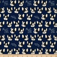 Kokka Black & White Bulldog Canvas Blue