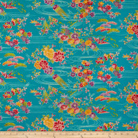 Kokka Japanese Modern Flower Dobby Canvas Blue