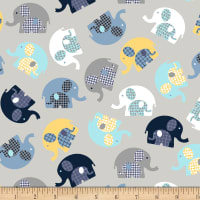 Cubby Bear Flannel Prints Elephant Hugs Grey