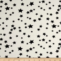 Double Brushed Poly Jersey Knit Starburst White/Black
