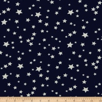 Double Brushed Poly Jersey Knit Starburst Navy/White