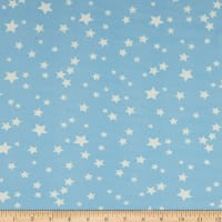 Double Brushed Poly Jersey Knit Starburst Sky Blue/White