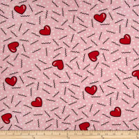 Double Brushed Poly Jersey Knit Doodles and Hearts Pink