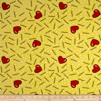 Double Brushed Poly Jersey Knit Doodles and Hearts Yellow