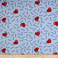 Double Brushed Poly Jersey Knit Doodles and Hearts Sky Blue
