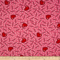 Double Brushed Jersey Knit Doodles and Hearts Bright Coral