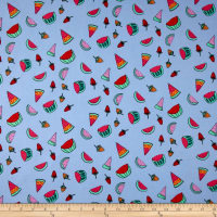Double Brushed Jersey Knit Watermelon and Strawberry Craze Light Indigo