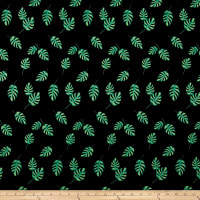 Double Brushed Poly Jersey Knit Tropical Leaves Black