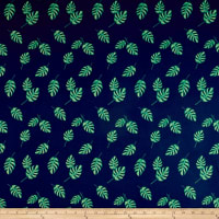 Double Brushed Poly Jersey Knit Tropical Leaves Navy