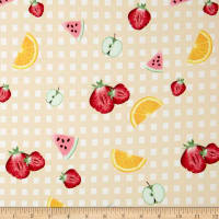 Double Brushed Poly Jersey Knit Gingham Fruit Party Nude