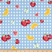 Double Brushed Poly Jersey Knit Gingham Fruit Party Sky Blue