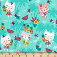 Timeless Treasures Hula Cats Aqua