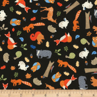 Timeless Treasures Camp Bear Tossed Forest Animals Black