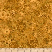 Timeless Treasures Tonga Batik Nutmeg Medallion Garden Amber