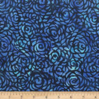 "Anthology Batiks Abstract Rose 108"" Wide Back Ultramarine"