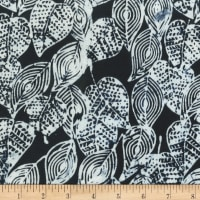 Anthology Batiks Scribbled Leaves Black